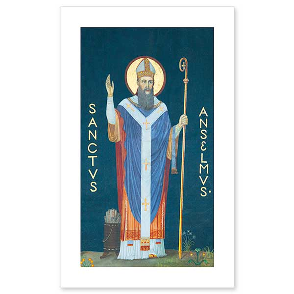A holy card image of St. Anselm