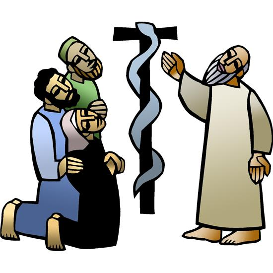 Moses lifts a staff with a serpent on it, that the Israelites might live. (Numbers 21)