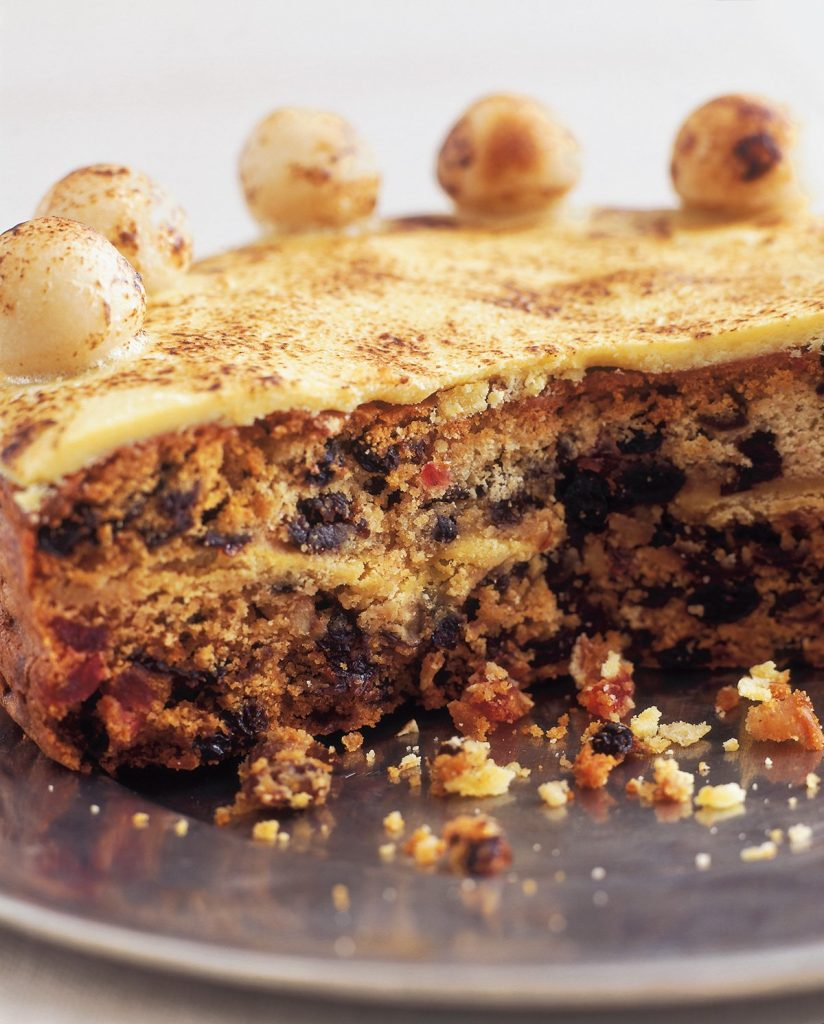 A simnel cake, cut in half.