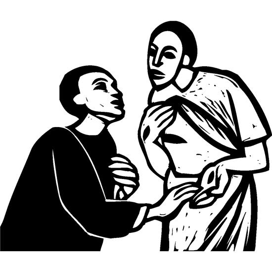 The apostle Thomas sees the wounds in Jesus's hands.