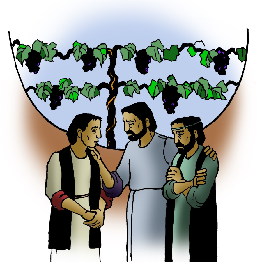 Jesus speaks with two people in front of grape vines in fruit