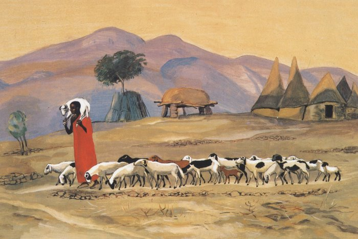 A painting from the Mafa Community - Jesus leads sheep, carrying one on his shoulders.