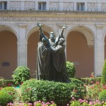 A statue of Benedict in the gardens of the Abbey of Montecassino.